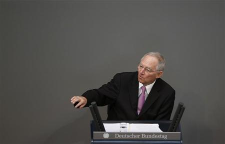 German Finance Minister Wolfgang Schaeuble addresses the lower house of parliament Bundestag in Berlin, April 18, 2013. REUTERS/Fabrizio Bensch