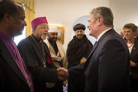 German President Joachim Gauck (2nd R) meets religious leaders in the residence of the German ambassador in Addis Ababa, March 19, 2013. REUTERS/Bundesregierung/Sandra Steins/Handout