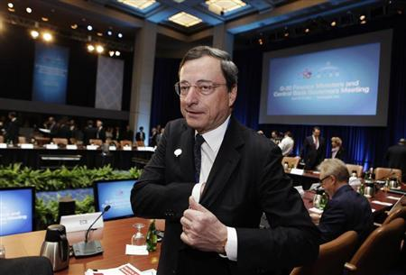 European Central Bank President Mario Draghi attends the G20 finance ministers meeting during the Spring Meeting of the International Monetary Fund and World Bank in Washington, April 19, 2013. REUTERS/Yuri Gripas