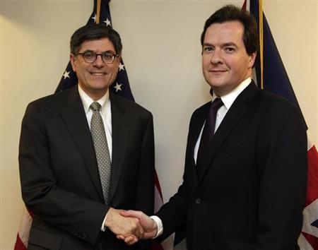 U.S. Treasury Secretary Jack Lew (L) shakes hands with Britain's Chancellor of the Exchequer George Osborne during the Spring 2013 meetings of the World Bank and International Monetary Fund (IMF) in Washington April 18, 2013. REUTERS/Yuri Gripas