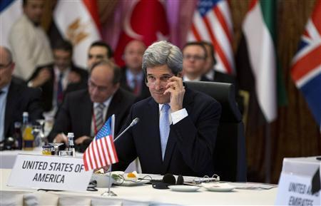 U.S. Secretary of State John Kerry attends a ''Friends of Syria'' group meeting hosted by Turkish Foreign Minister Ahmet Davutoglu at the Adile Sultan Palace in Istanbul April 20, 2013. REUTERS/Evan Vucci/Pool