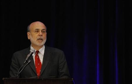 Federal Reserve Board of Governors Chairman Ben Bernanke delivers a luncheon speech on ''Resilience and Rebuilding for Low-Income Communities Conference Agenda'' in Washington April 12, 2013. REUTERS/Gary Cameron