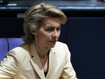 German Labour Minister Ursula von der Leyen attends a session of the lower house of parliament Bundestag in Berlin, April 18, 2013. REUTERS/Fabrizio Bensch