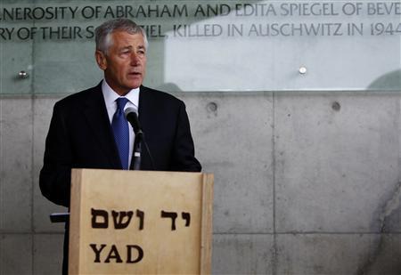 U.S. Secretary of Defense Chuck Hagel speaks during his visit at the Yad Vashem Holocaust Memorial museum in Jerusalem April 21, 2013. REUTERS/Baz Ratner