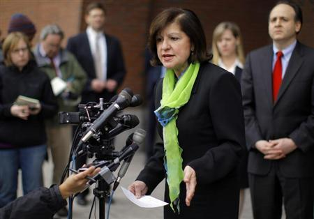 U.S. Attorney Carmen Ortiz speaks to reporters outside the federal courthouse after a hearing for Catherine Greig in Boston, Massachusetts March 14, 2012. REUTERS/Brian Snyder