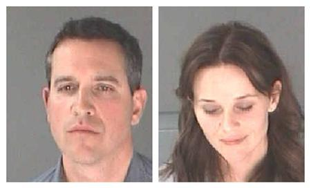 A combination photo shows actress Laura Witherspoon (Reese Witherspoon ) and her husband James Toth (L) after their arrest for D.U.I./Alcohol, Driving in proper lane for Toth and DC SEC 7-Phys Obstruct/another for Witherspoon in Atlanta Department of Corrections handout photo released to Reuters on April 21, 2013. Oscar-winning actress Reese Witherspoon was arrested in Atlanta for alleged disorderly conduct after her husband, talent agent James Toth, was stopped by police on suspicion of drunken driving, online Hollywood magazine Variety reported on Sunday. REUTERS/City of Atlanta Department of Corrections/Handout