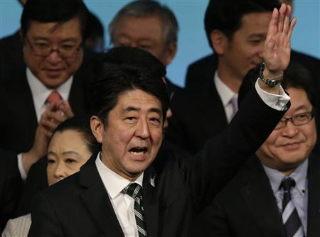 Japan's Prime Minister Shinzo Abe waves during the ruling Liberal Democratic Party (LDP) annual convention in Tokyo March 17, 2013. REUTERS/Toru Hanai