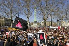 People gather at the Place de la Bastille from groups including Act-Up (AIDS Coalition to Unleash Power) to protest against homophobic attacks stemming from protests against France's planned legalisation of same-sex marriage in Paris, April 21, 2013. REUTERS/Gonzalo Fuentes