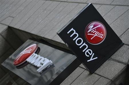 A logo at a branch of Virgin Money bank is seen in the City of London March 6, 2013. REUTERS/Toby Melville