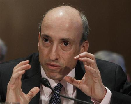 Gary Gensler, Chairman of the Commodity Futures Trading Commission, testifies before the Senate Banking, Housing and Urban Affairs Committee in Washington February 14, 2013. REUTERS/Gary Cameron