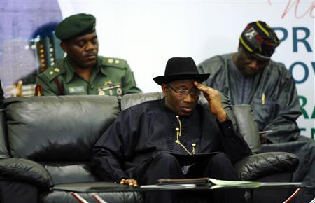 Nigeria's President Goodluck Jonathan reacts during a meeting of the Presidential Task Force on Power (PTFP) in Abuja April 22, 2013. REUTERS/Afolabi Sotunde