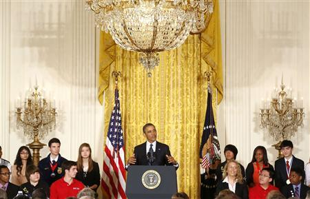 U.S. President Barack Obama speaks to the national winners as he hosts a White House Science Fair in the East Room at the White House in Washington, April 22, 2013. REUTERS/Larry Downing