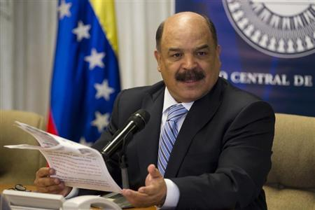 Venezuela's Central Bank President Nelson Merentes talks to the media during a news conference at the headquarters of the Central Bank in Caracas February 8, 2013. REUTERS/Carlos Garcia Rawlins