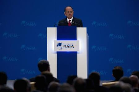 Myanmar's President Thein Sein speaks at the opening ceremony of the annual Boao Forum in Boao, in southern China's Hainan province, Sunday, April 7, 2013. REUTERS/Alexander F. Yuan/Pool