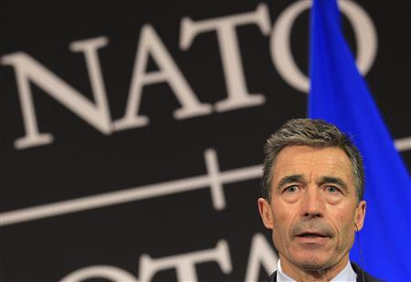 NATO Secretary General Anders Fogh Rasmussen holds a news conference after a NATO - Russia foreign ministers meeting at the Alliance's headquarters in Brussels April 23, 2013. REUTERS/Yves Herman