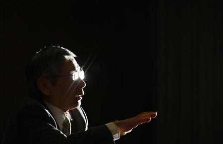 Bank of Japan Governor Haruhiko Kuroda speaks during a group interview at the BOJ headquarters in Tokyo April 10, 2013. REUTERS/Toru Hanai