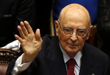 Italy's newly re-elected president Giorgio Napolitano waves at the end of his speech at the lower house of the parliament in Rome, April 22, 2013. REUTERS/Tony Gentile