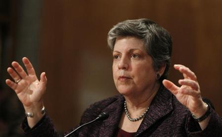 United States Homeland Security Secretary Janet Napolitano testifies on Capitol Hill in Washington April 17, 2013. REUTERS/Gary Cameron