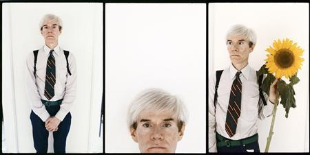 Artist Andy Warhol is shown in three images from a series of recently discovered portraits by photographer Steve Wood, in these publicity image released to Reuters by Steve Wood on April 23, 2013. REUTERS/SteveWood/www.lostthenfound.info/Handout