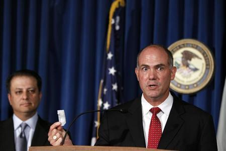 Derek Maltz (R), special agent-in-charge in the DEA special operations division during a news conference announcing arrests in two DEA narco-terrorism undercover operations related to Hizballah and the Taliban in New York July 26, 2011. REUTERS/Lucas Jackson