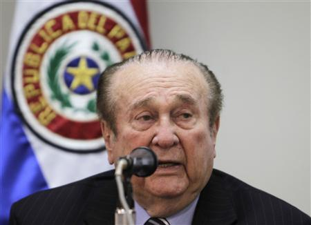 Nicolas Leoz, president of South American soccer body Conmebol, speaks during a news conference in Asuncion April 23, 2013. REUTERS/Jorge Adorno