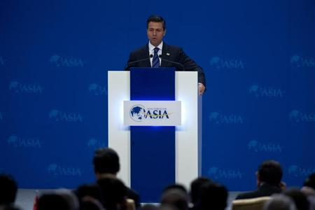 Mexican President Enrique Pena Nieto speaks at the opening ceremony of the annual Boao Forum in Boao, in southern China's Hainan province, April 7, 2013. REUTERS/Alexander F. Yuan/Pool