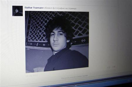 A photograph of Dzohkhar Tsarnaev is seen on his page of Russian social networking site Vkontakte (VK), as pictured on a monitor in St. Petersburg April 19, 2013. REUTERS/Alexander Demianchuk