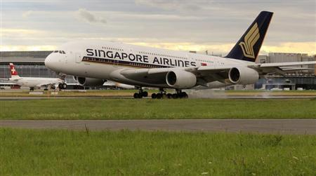 An Airbus A380 jet of Singapore Airlines lands at the airport in Zurich July 14, 2012. REUTERS/Arnd Wiegmann