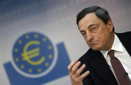European Central Bank (ECB) President Mario Draghi gestures during the monthly ECB news conference in Frankfurt April 4, 2013. REUTERS/Lisi Niesner