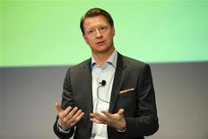 Hans Vestberg, directeur général d'Ericsson. Le groupe suédois a douché les espoirs d'une reprise immédiate dans le marché des équipements de réseaux de téléphonie mobile en faisant part mercredi d'une baisse plus forte que prévu de son bénéfice au titre du premier trimestre 2013. /Photo prise le 24 avril 2013/REUTERS/SCANPIX/Leo Sellen