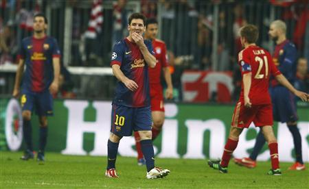 Barcelona's Lionel Messi (C) reacts at the end of their Champions League semi-final first leg soccer match against Bayern Munich at Arena stadium in Munich, April 23, 2013. REUTERS/Michael Dalder