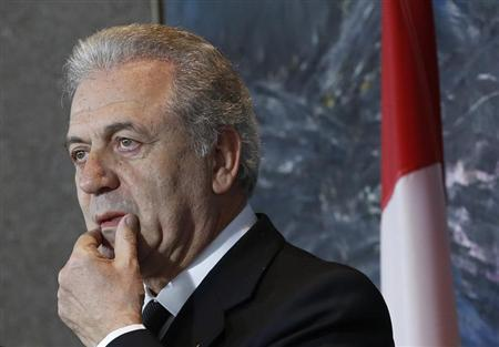 Greece's Foreign Minister Dimitris Avramopoulos takes part in a news conference with his Canadian counterpart John Baird (not pictured) at the Lester B. Pearson Building in Ottawa February 27, 2013. REUTERS/Chris Wattie