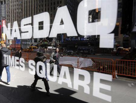 The Nasdaq logo is seen on the exterior of the Nasdaq MarketSite in New York, April 2, 2013. REUTERS/Brendan McDermid