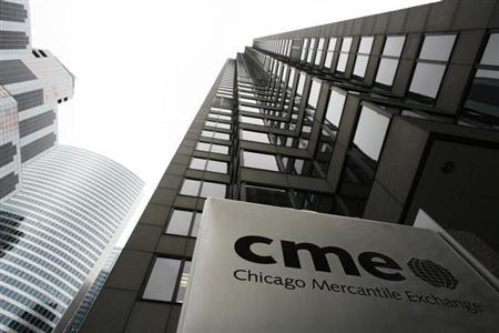 The Chicago Mercantile Exchange is pictured March 17, 2008. CME Group Inc, the world's largest derivatives exchange, on Monday forged a definitive agreement to buy energy and precious metals mart NYMEX for about $9.4 billion. REUTERS/John Gress