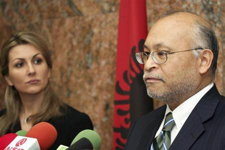 U.S. Ambassador to Albania Alexander Arvizu (R) speaks during a news conference with Albania's General Prosecutor Ina Rama (L) in Tirana January 25, 2011. REUTERS/Arben Celi