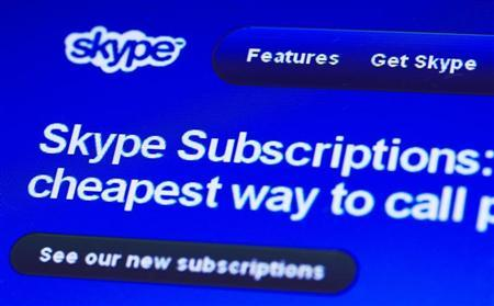 A page from the Skype website is seen in Lausanne May 10, 2011. REUTERS/Denis Balibouse