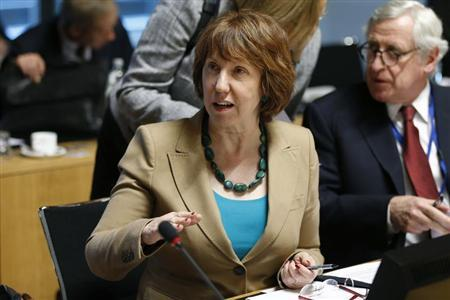 European Union foreign policy chief Catherine Ashton speaks at the start of an EU foreign ministers meeting in Luxembourg April 22, 2013. REUTERS/Francois Lenoir