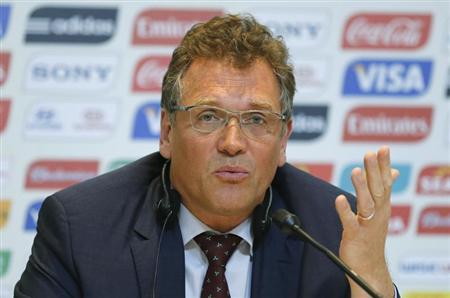 FIFA Secretary General Jerome Valcke responds to a question during the 2014 World Cup Local Organizing Committee (LOC) news conference in Rio de Janeiro March 7, 2013. REUTERS/Sergio Moraes