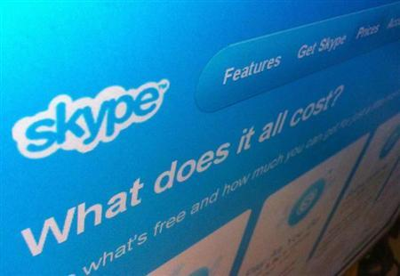 A page from the Skype website is seen in Singapore May 10, 2011. REUTERS/David Loh/Files