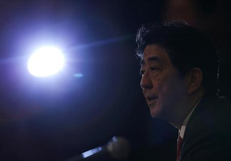 Japan's Prime Minister Shinzo Abe speaks during a news conference at the Japan National Press Club in Tokyo April 19, 2013. REUTERS/Yuya Shino