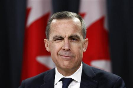 Bank of Canada Governor Mark Carney winks at the start of a news conference upon the release of the Monetary Policy Report in Ottawa January 23, 2013. REUTERS/Chris Wattie