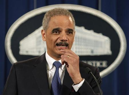 U.S. Attorney General Eric Holder speaks at a news conference to announce a major financial fraud enforcement action at the Justice Department in Washington February 5, 2013. REUTERS/Yuri Gripas