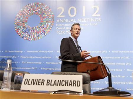 International Monetary Fund's Economic Counsellor and Director of Research Department Olivier Blanchard enters the news briefing on the World Economic Outlook (WEO), at the Tokyo International Forum in Tokyo October 9, 2012. REUTERS/International Monetary Fund/Stephen Jaffe/Handout