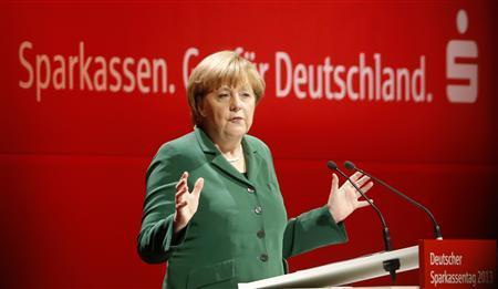 German Chancellor Angela Merkel gives a speech at the German Savings Banks Association in Dresden April 25, 2013. REUTERS/Fabrizio Bensch