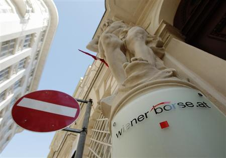 The Vienna Stock Exchange (Wiener Boerse) logo is displayed outside the company's headquarters in Vienna March 26, 2012. REUTERS/Heinz-Peter Bader