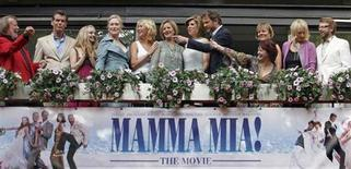 Cast and members of Abba appear together at the premiere of the motion picture version of the musical 'Mamma Mia' in Stockholm July 4, 2008. From left to right are: Abba's Benny Andersson, Pierce Brosnan, Amanda Seyfried, Meryl Streep, Abba members Agnetha Faltskog and Anni-Frid Lyngstad, Christine Baranski, Colin Firth, screenwriter Catherine Johnson (pointing), director Phyllida Lloyd, producer Judy Craymer and Abba member Bjorn Ulvaeus. REUTERS/Bob Strong