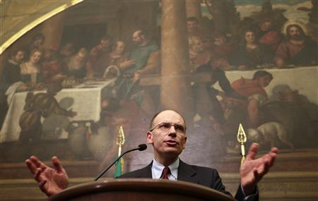 Deputy leader of Italy's centre-left Democratic Party (PD) Enrico Letta talks during a news conference at Montecitorio palace in Rome April 25, 2013. REUTERS/Max Rossi