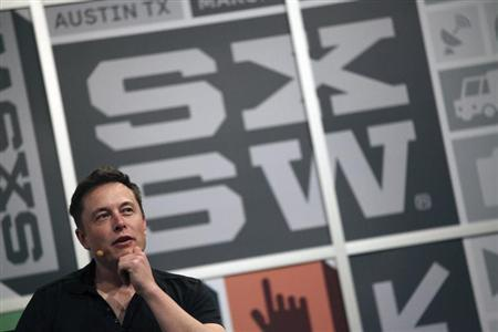Elon Musk, the chief executive of Tesla Motor, speaks at the South by Southwest Interactive festival in Austin, Texas, March 9, 2013. REUTERS/Gerry Shih