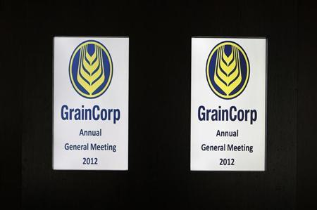 GrainCorp logos are seen at the company's Annual General Meeting entrance in central Sydney December 20, 2012. REUTERS/Daniel Munoz