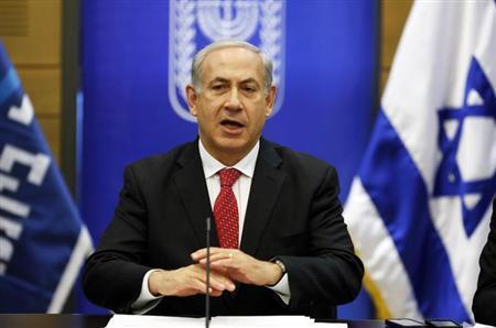Israel's Prime Minister Benjamin Netanyahu gestures as he speaks during a Likud party meeting at the Knesset, the Israeli parliament, in Jerusalem April 22, 2013. REUTERS/Baz Ratner